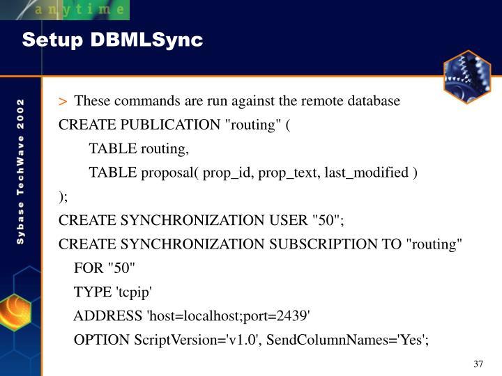 Setup DBMLSync