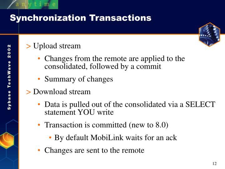 Synchronization Transactions