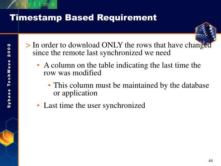 Timestamp Based Requirement