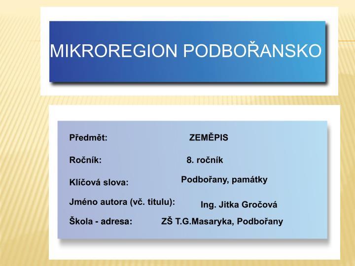 MIKROREGION PODBOŘANSKO
