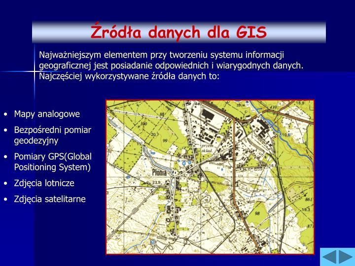Źródła danych dla GIS