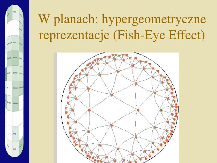 W planach: hypergeometryczne reprezentacje (Fish-Eye Effect)