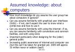 assumed knowledge about computers