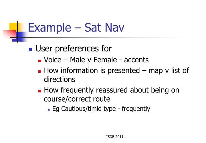 Example – Sat Nav