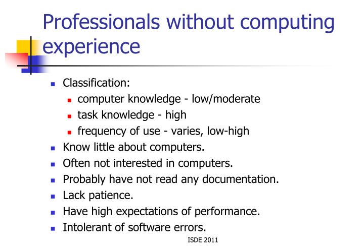 Professionals without computing experience