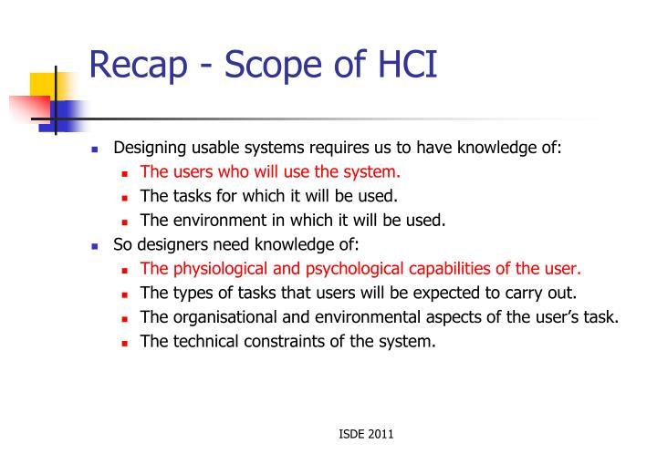 Recap - Scope of HCI