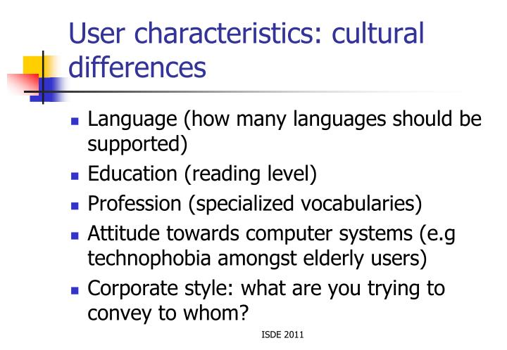 User characteristics: cultural differences