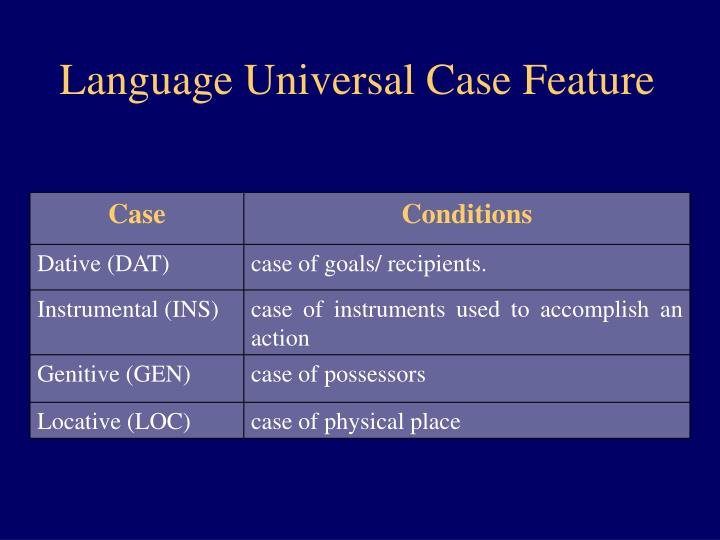 Language Universal Case Feature