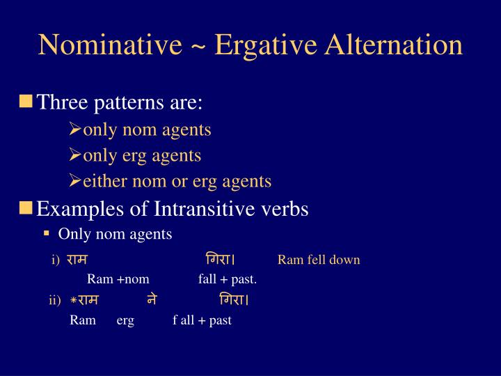 Nominative ~ Ergative Alternation