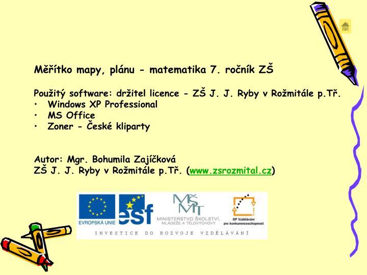 Měřítko mapy, plánu - matematika 7. ročník ZŠ