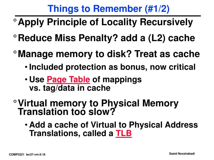 Things to Remember (#1/2)