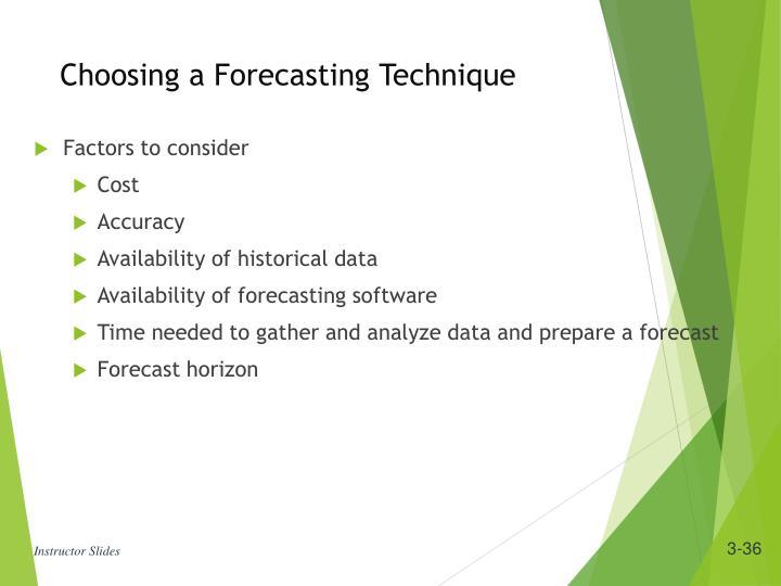 Choosing a Forecasting Technique