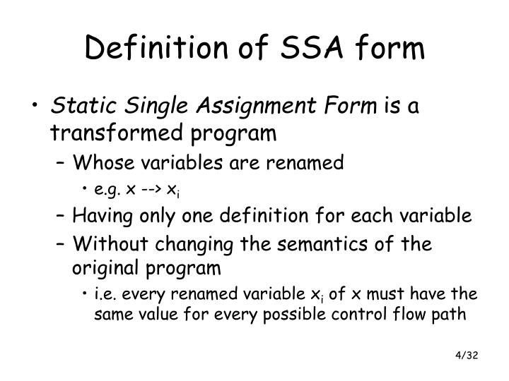 Definition of SSA form
