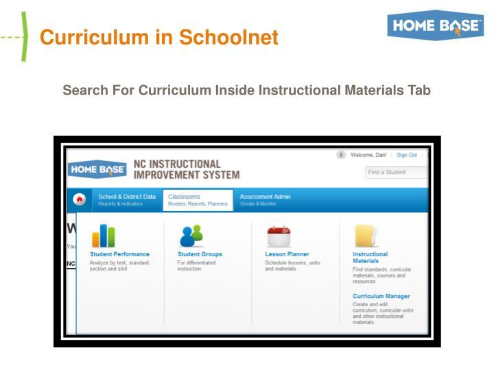 Curriculum in Schoolnet