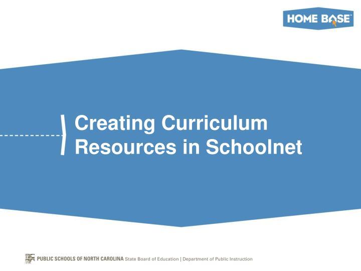 Creating Curriculum Resources in Schoolnet