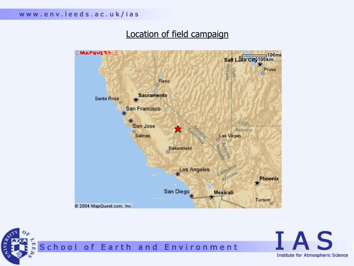 Location of field campaign