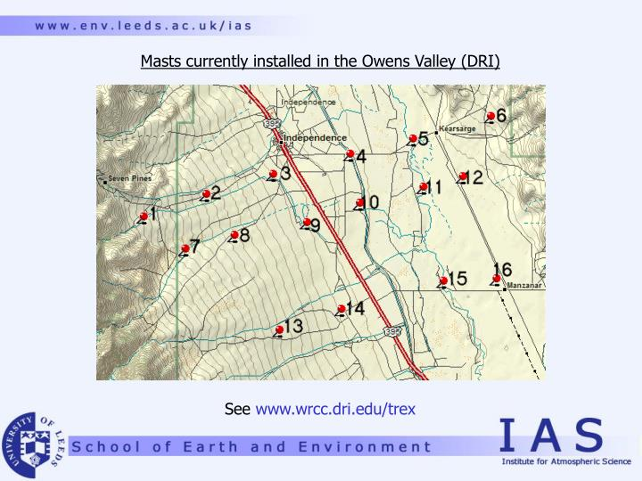 Masts currently installed in the Owens Valley (DRI)