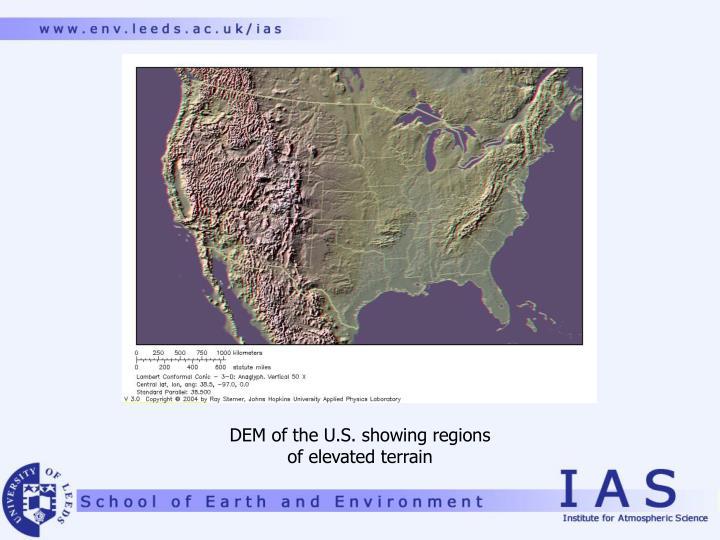 DEM of the U.S. showing regions