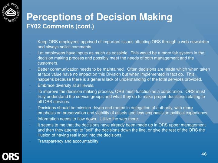 Perceptions of Decision Making