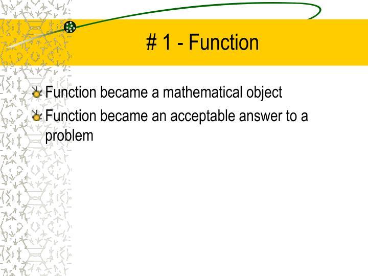 # 1 - Function