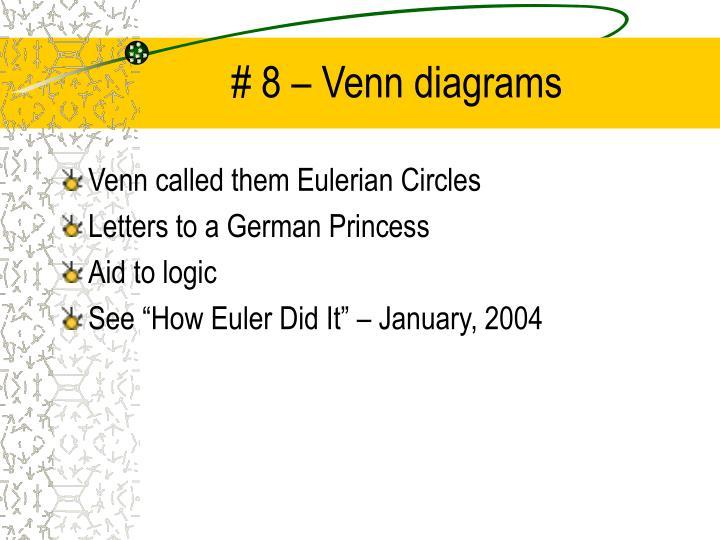 # 8 – Venn diagrams