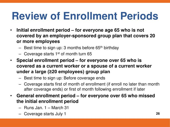 Review of Enrollment Periods