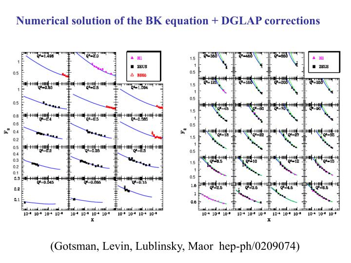 Numerical solution of the BK equation + DGLAP corrections