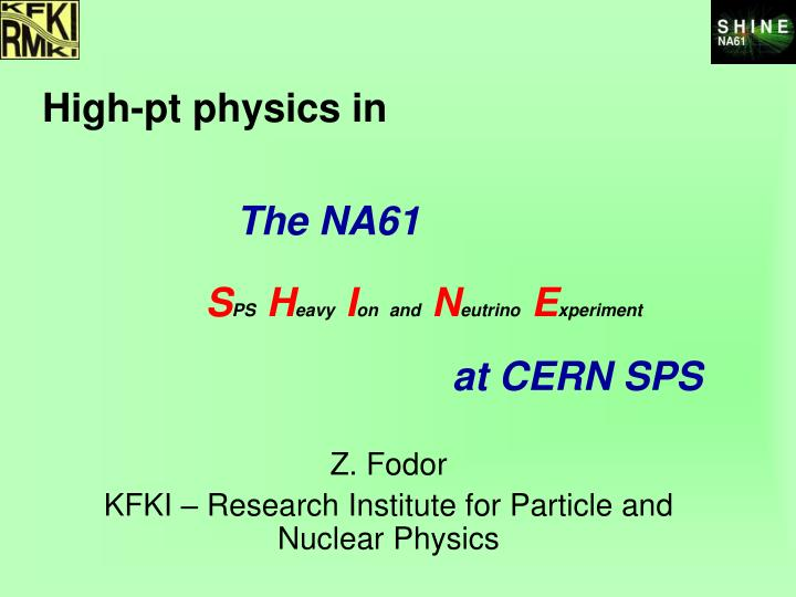 High-pt physics in