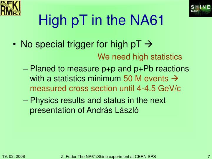 High pT in the NA61