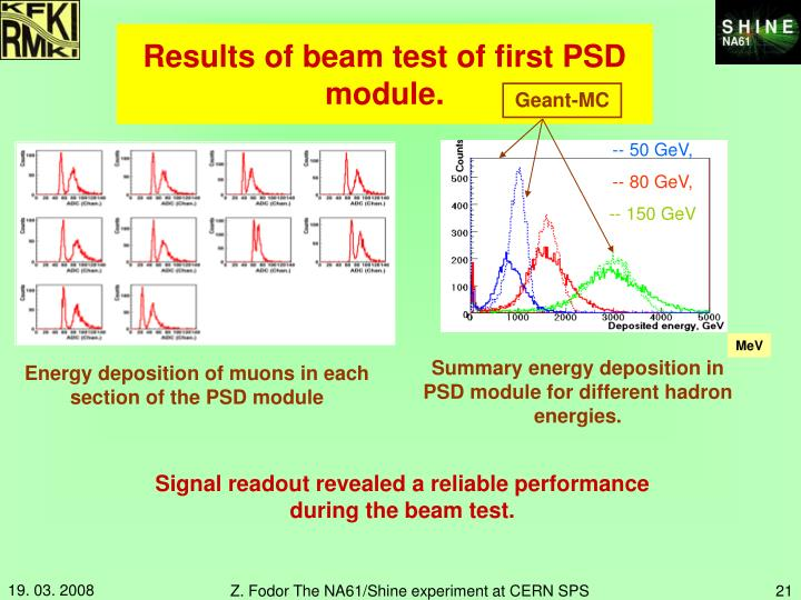 Results of beam test of first PSD module.