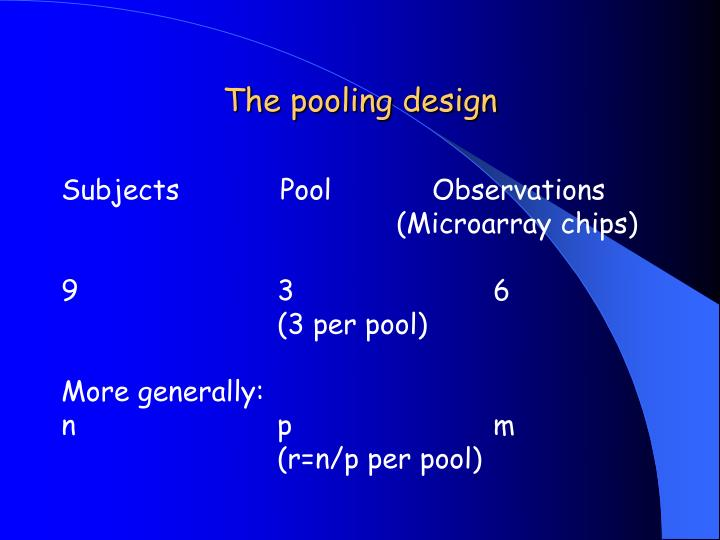The pooling design