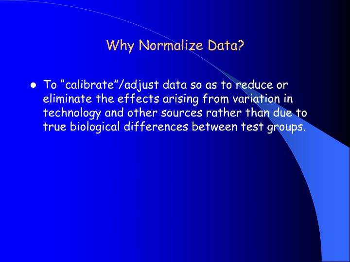 Why Normalize Data?