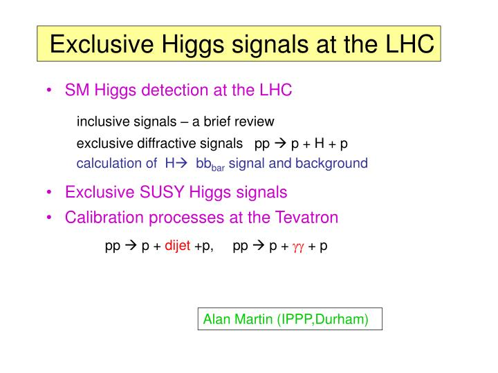 Exclusive Higgs signals at the LHC
