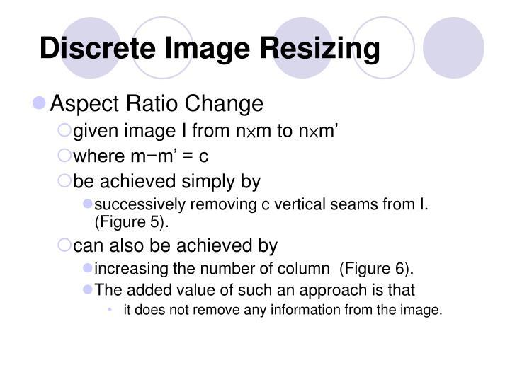 Discrete Image Resizing