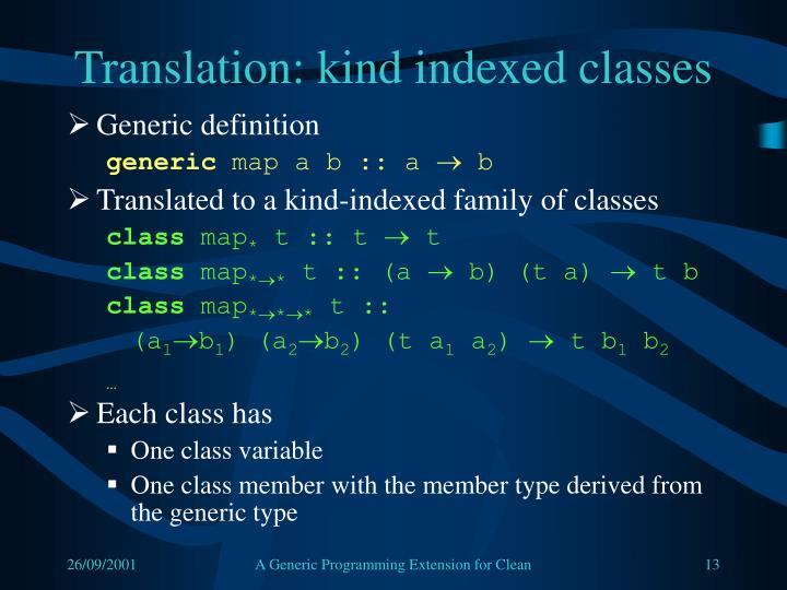 Translation: kind indexed classes