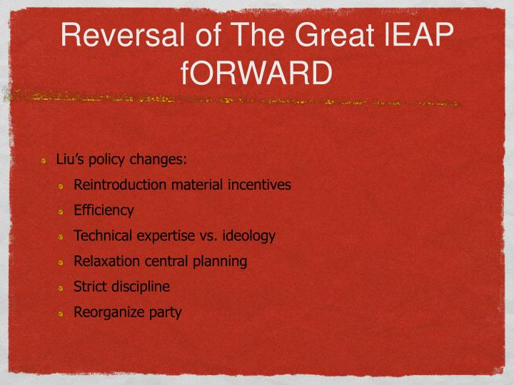 Reversal of The Great lEAP fORWARD