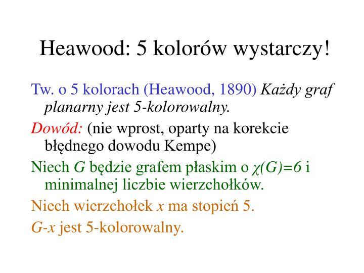 Heawood: 5 kolorów wystarczy!