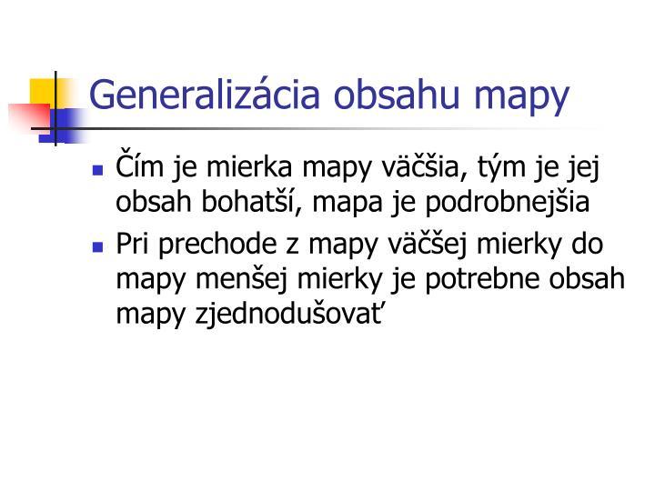 Generalizácia obsahu mapy
