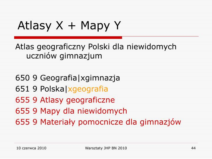 Atlasy X + Mapy Y