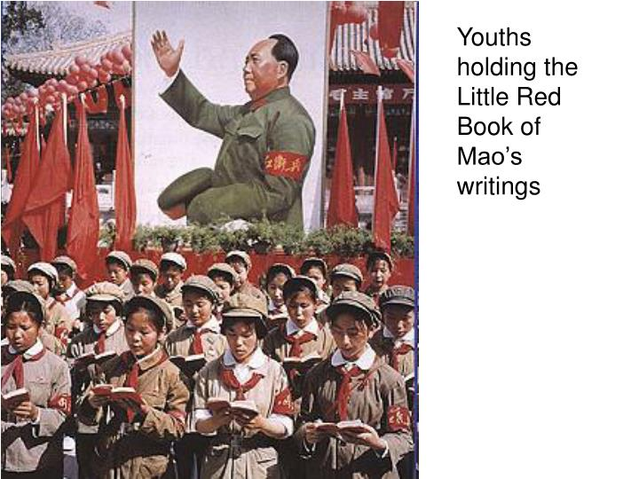 Youths holding the Little Red Book of Mao's writings