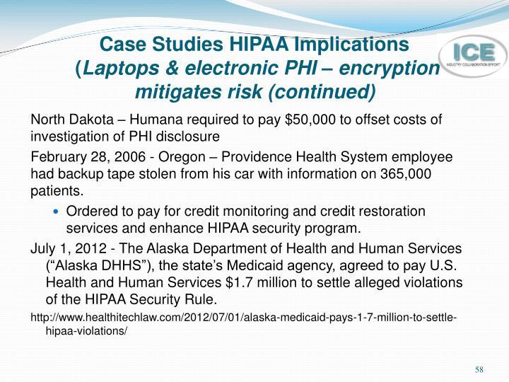 Case Studies HIPAA Implications
