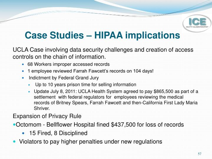 Case Studies – HIPAA implications