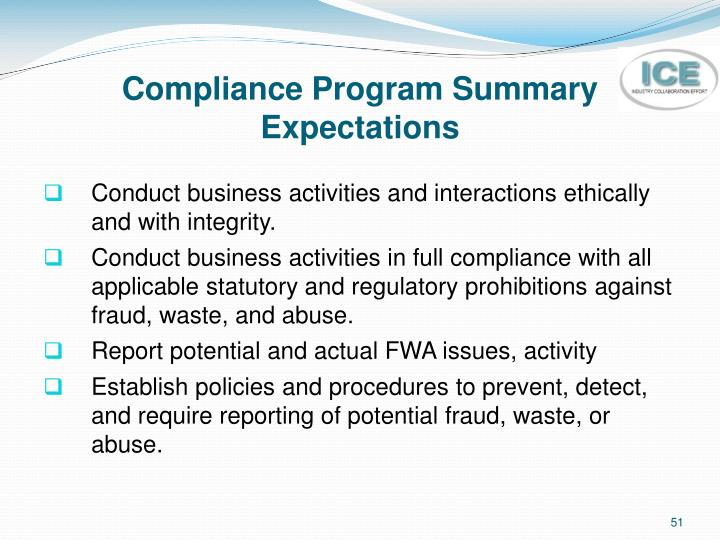 Compliance Program Summary Expectations