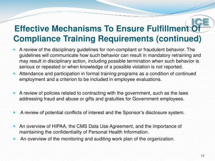 Effective Mechanisms To Ensure Fulfillment Of Compliance Training Requirements (continued)