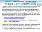 entities individuals excluded form medicare or government programs