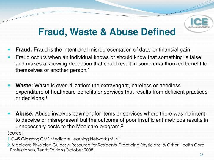 Fraud, Waste & Abuse Defined