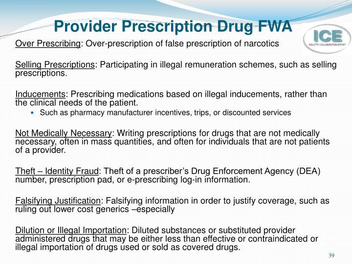 Provider Prescription Drug FWA