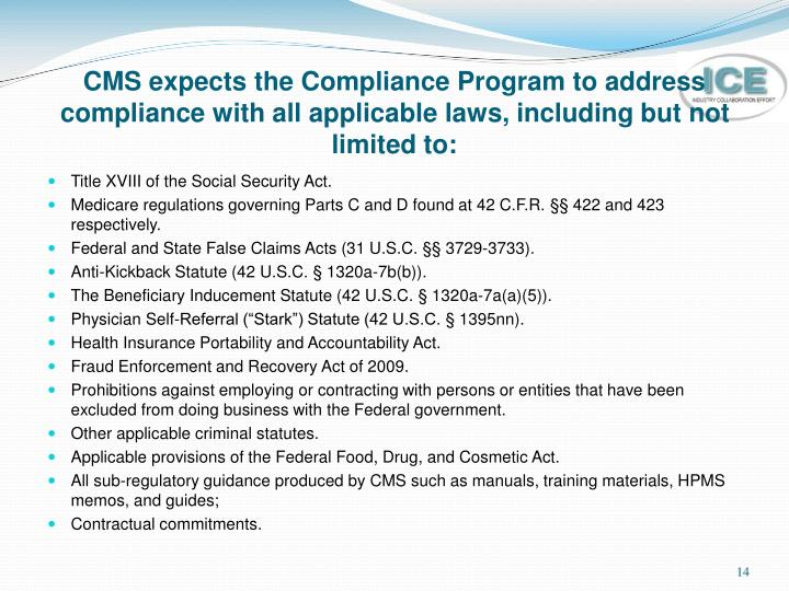 CMS expects the Compliance Program to address compliance with all applicable laws, including but not limited to: