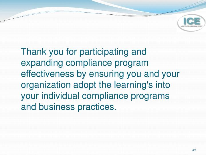 Thank you for participating and expanding compliance program effectiveness by ensuring you and your organization adopt the learning's into your individual compliance programs and business practices.