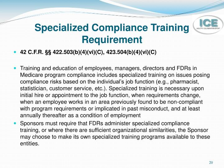 Specialized Compliance Training Requirement